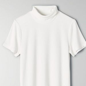 New Wilfred Short Sleeve Ribbed Turtleneck Oat XS